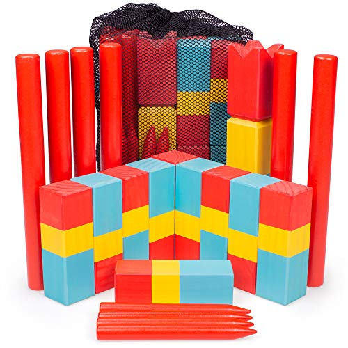 Kubb for Kids | Safe Wooden Lawn Game for Kids | Unique, Traditional Family Game | Premium Wooden Tossing Game Set for Outdoor Birthday Party & Yard Activities | Includes Free Portable Mesh Carry Bag