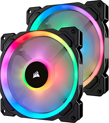 Corsair LL140 RGB Ventilador de PC (140 mm, Doble Halo RGB LED PWM) Paquete Doble con Lighting Node Pro