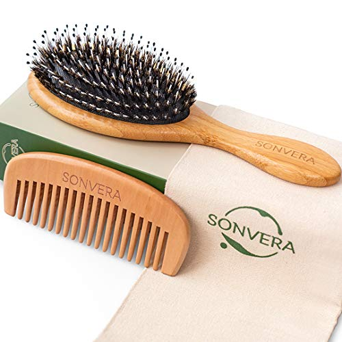 Boar Bristle Bamboo Oval Detangling and Straightening Hair Brush Men Nylon Boars Detangle Hair Brushes for Women Mens and Children Paddle Brush Wooden Bore Eco Hairbrush for Thick Curly Hair Men