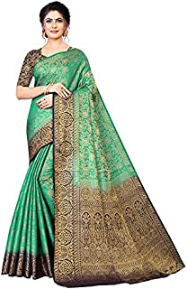 Neerav Exports Kanjivaram Soft Silk With Rich Pallu Traditional Jacquard Saree (Green)