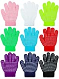 Cooraby 9 Pairs Kids Anti-skid Magic Gloves Winter Warm Stretchy Knit Gloves for Boys or Girls (Mixed Color A, 6-12 Years)