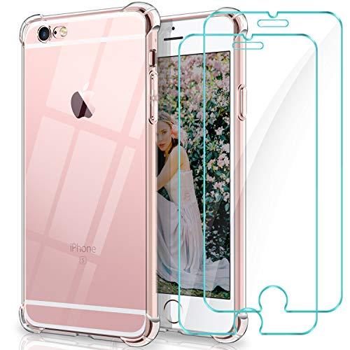 WINmall Kompatibel mit iPhone 6 Hülle, iPhone 6S Hülle + 2 Stück Panzerglas Schutzfolie. Transparent weiche TPU Silikone Stoßfest [AIR Cushion Schutz] Handyhülle für iPhone 6/6S - Crystal Clear