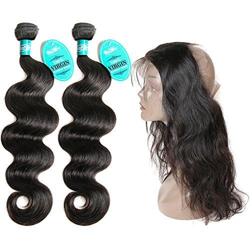 Extension de cheveux HmtAfro 100 % brésiliens ondulés - Couleur naturelle - Fermeture frontale à lacet à 360°