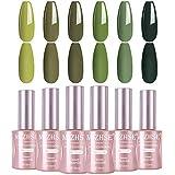 MIZHSE Carnival Evergreen 18 ml Gel Nail Polish Set- Army Green Nail Gel 6 Colors kits Olive Neon Green gel nail with Gift Box Nail Gel Soak Off UV LED Salon Dark Green kit(Set 10)