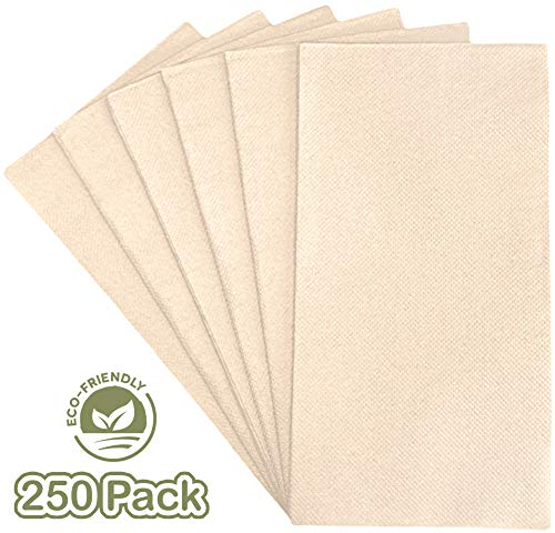 Lifey 250 Disposable Bathroom Napkins | Everyday Paper Dinner Napkins | Soft & Durable 2 Ply Paper Guest Towels With Absorption Pockets | 100% Bamboo Eco Friendly Tan/Beige/Ivory Napkins In Bulk
