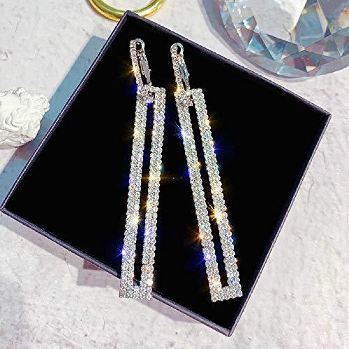 wangtao 925 Zilveren Naald Mode Diamant Rechthoekige Oorbellen Wilde Oorbellen Vrouwelijke Lange Sectie Diamant Lange Oorbellen