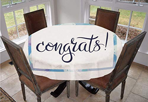 Angel Bags Graduation Decor Round Tablecloth,Congrats Hand Lettered Phrase in Frame Admiration Tribute Polyester Indoor Outdoor Tablecloth,48 Inch,for Dining Room and Party Dark Blue Light Blue Lilac