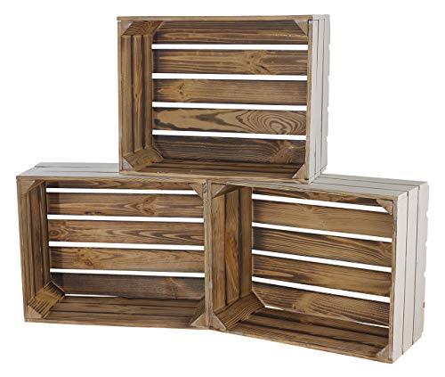 Moooble Neue Holzkisten geflammt, innen weiß | 50x40x22cm | draußen schönes Balkonregal für Topfpflanzen, Deko | drinnen Garderobenregal (6)