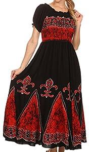 Sakkas A46 Batik Fleur De Lis Embroidered Peasant Dress - Black / Red - One Size