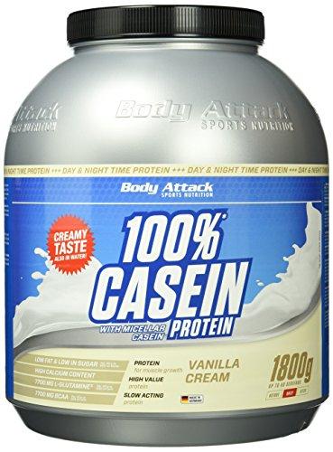 Body Attack 100% Casein Protein Vanilla Cream, 1er Pack (1 x 1.8 kg)