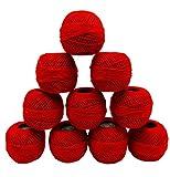 IBA Indianbeautifulart 10 Piezas de algodón Rojo Mercer Crochet hebra de Hilo de Tejer madejas Bordado Tatting