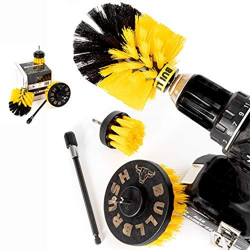 BULLBRUSH® Bürstenaufsatz Bohrmaschine | Reinigung von Fliesen, Fugen, Felgen | 3er Set + Bitverlängerung | Felgenbürste | Bürste Akkuschrauber