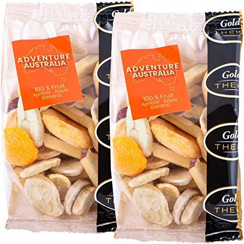 GoldTHEKE Adventure Australia, gefriergetrocknete Fruchtmischung aus Banane, Aprikose, Apfel - 100% gefriergetrocknetes Obst, 0% Zusatzstoffe (2x 50g)