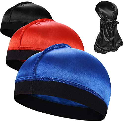 3PCS Silky Stocking Wave Caps, Compression Cap for Men Doo Rag, Award 1 Durag,A