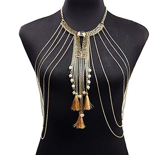 HJG Gold Fine body Chain jewelry with Pearl tassel,Gold Body Chain Harness Multirow Necklace Shoulder Body Chain