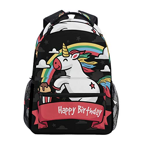 LORONA verjaardagskaart met handgetekende eenhoorn casual rugzak schooltas computerboek tas reizen wandelen Camping Daypack voor meisjes jongens mannen en vrouwen
