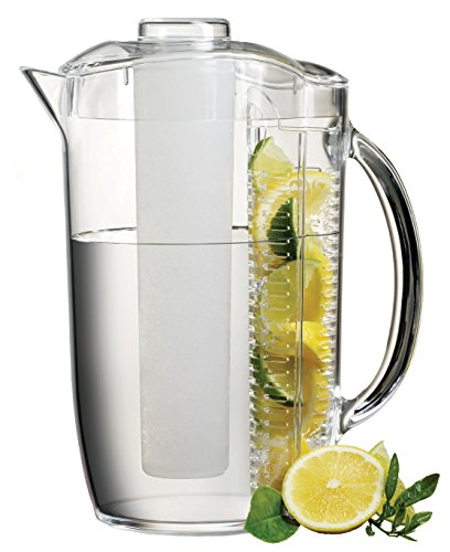 Fruit infuser pitcher with ice core