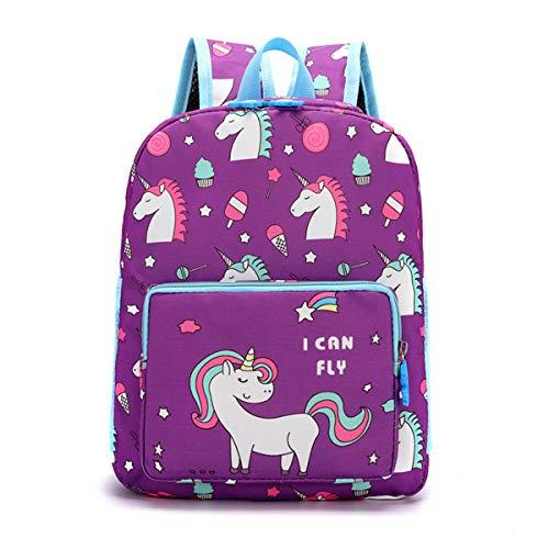 Zaino per Bambini Zaini Unicorno, Zaino Scuola Materna Sacchetti Scuola Piccolo Borsa Prescolare per Bambina Bambino 2-5 Anni(Viola)