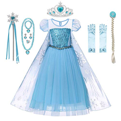 DecStore Kleine Mädchen ELSA Snow Kostüm Kleid Prinzessin Party Kostüm Halloween Kostüm(Blue Style B(with Accessories) 140)