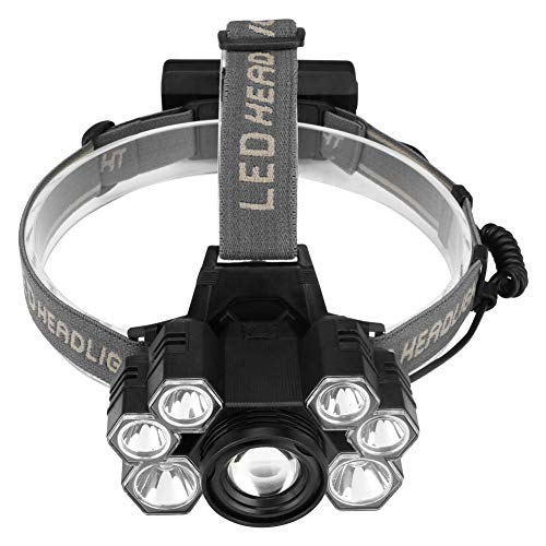Linterna frontal, 5 Modos de Luz con Flash, 7 luces LED Zoom in/out, Ligera Elástica, Impermeable para Ciclismo, Correr, Deportes Nocturnos... [Clase de eficiencia energética A]