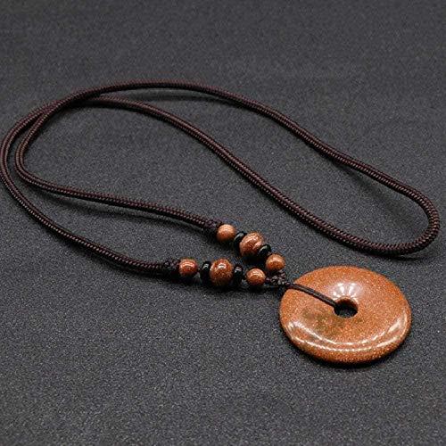 huangshuhua Collares Pendientes de Piedra para Mujer Collares Pendientes de Piedra Natural Vintage Adornos de Cadena de Cuerda de Donut Dorado