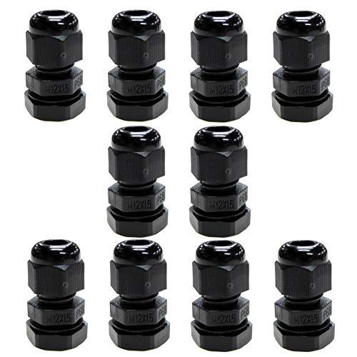 10 Stück schwarze M12 12 mm TRS Füllung Kompressionsverschraubungen für 3–6,5 mm Kabel, wasserdicht IP68 mit Kontermutter und Unterlegscheibe