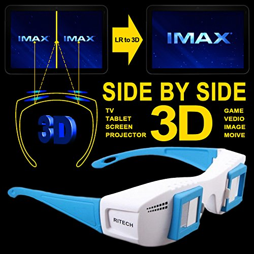 Cowcool(R) Gloriest Mate II Site by Side 3d Experience Stereoscopic 3D Glasses For Computer TV Projector Tablet Format 3D Eyes Side By Side SBS Movie Film