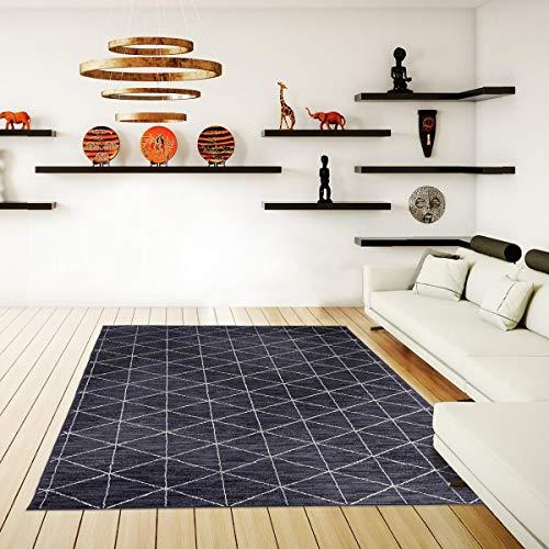 UN AMOUR DE TAPIS 120x170 Tapis Salon Moderne Design Scandinave Géométrique - Grand Tapis Salon Berbere Ethnique - Tapis Gris
