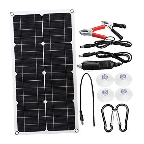gazechimp Kit de inicio solar monocristalino de 100 vatios, accesorios de controlador de carga de batería para caravanas, barcos, caravanas, aplicaciones fuera - 1 juego
