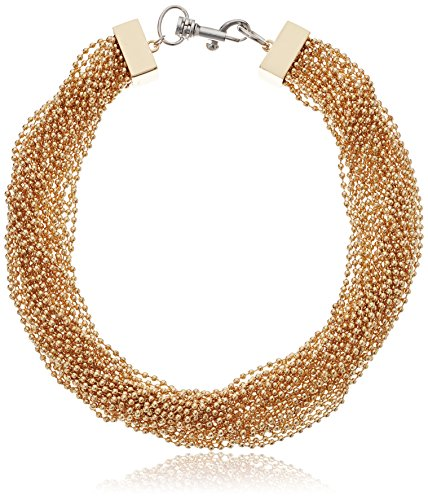 Steve Madden Women's Twisted Multi Chain Yellow Gold-Tone Collar Necklace