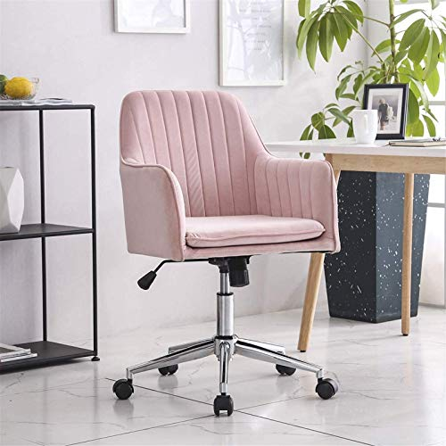 Patio Lounge Chairs Recliner Blue Crushed Velvet Fabric Home Office Swivel Height Adjustable Ergonomic Computer Desk Chairs Graceful Reception Chairs (Color : Pink)