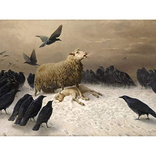Schenck Anguish Sheep Ewe Crows Carrion Painting Art Print Canvas Premium Wall Decor Poster Mural