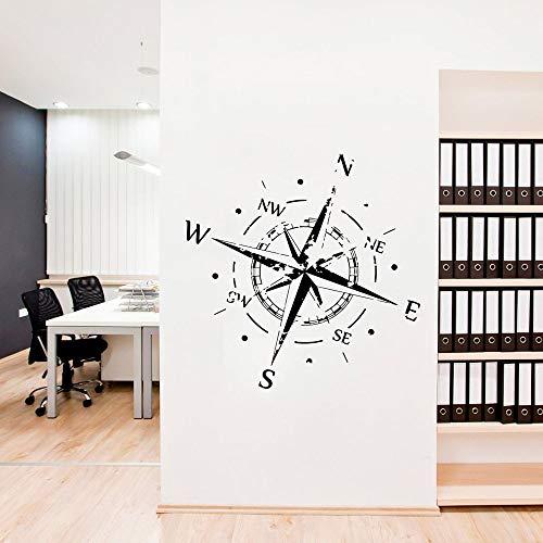 Brújula Rosa pared calcomanía oficina vinilo calcomanía brújula náutica diseño creativo logotipo barco océano mar pared pegatina decoración del hogar sala de estar
