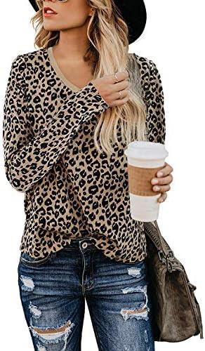 Yidarton Women s T Shirt Leopard Print Tops Long Sleeve Casual Cotton V Neck Cute Blouse Leopard product image