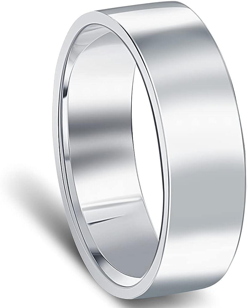 6mm Flat High Polished Wedding Band 950 Platinum