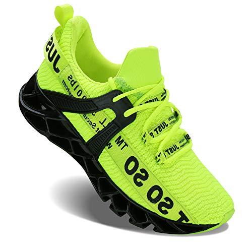 Wonesion Herren Fitness Laufschuhe Atmungsaktiv rutschfeste Mode Sneaker Sportschuhe,1 Grün,45 EU