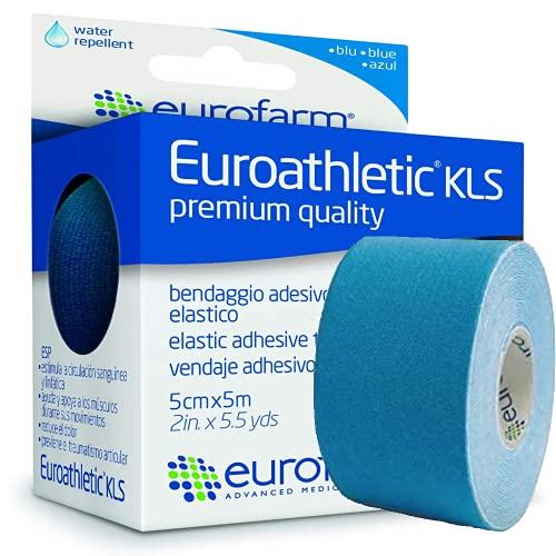 Euroathletic KLS - Kinesio Tape Colore Blu 5 cm x 5 mt, Bendaggio Adesivo Elastico, Traspirante e...