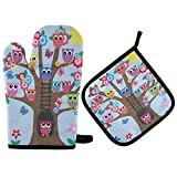 FHTDH Suministros de cocina, guantes de horno y juegos de ollas Spring Bird Owls Flowers Oven Mitts Quilted Cotton Lining Potholders BBQ Gloves-Oven Mitts and Pot Holders Heat Resistant Kitchen Gloves