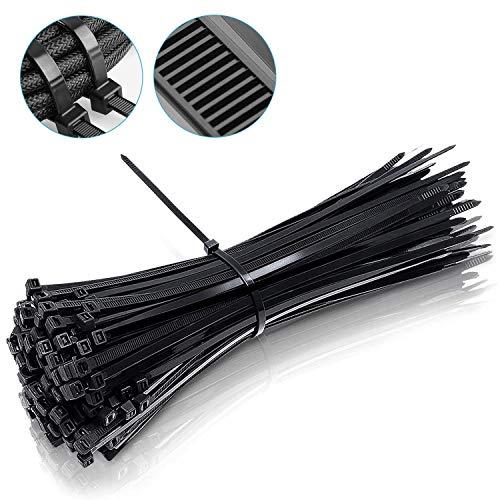 Hengda Kabelbinder UV-Beständig Kabelbinder-Set für Bündelgut 350 x 4,8 mm Industriequalität Kabelbinder, Premium Nylon, Hitzebeständige, Schwarz, 100 Stück
