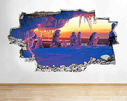 Puesta de sol escénica día de hielo de invierno3D Etiqueta de la pared Etiqueta de vinilo extraíble decoración de Sala de Arte de Vinilo para Sala de Estar Dormitorio Cocina-50x70cm