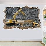 Wandtattoo Bergbau Bagger und LKW Wandaufkleber 3D Mühle Dekoration Aufkleber Wandbild