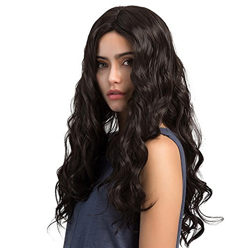 TopWigy Peluca larga y rizada Pelucas de onda larga Pelucas de cabello sintético Pelucas de onda larga y negra para mujeres 26 pulgadas para fiesta diaria