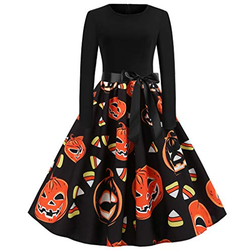 Kiasebu 2019 Nieuwe Halloween Jurk Lange Mouw voor Vrouwen Ronde hals Rits Vintage Hepburn Party Swing Jurk