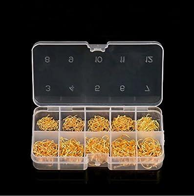 Doyeemei 600 Pcs Mixed Sizes 3#-12# Black Silver Fishing Hooks Plastic Box from Doyeemei