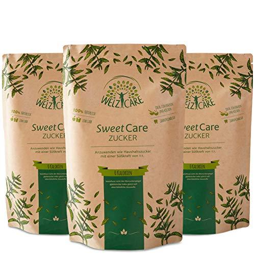 Azúcar granulada SweetCare PREMIUM - 3x 1 kg - sustituto del azúcar - 100 % vegano - sin calorías - bajo en carbohidratos - con Eritritol y Stevia - Made in Germany