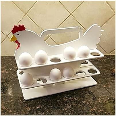 LIXSLT Egg Storage Rack Portable Countertop Egg Organizing Woode