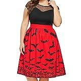 Overdose Vestido De Disfraces De Halloween Mujer Fiesta De Halloween Bat Imprimir Retro Sin Mangas Vintage Swing Longitud De La Rodilla Vestido