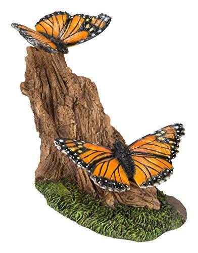 Farfalle monarca su tronco   Decorazione per la casa o il giardino in resina   RL-PF40-B