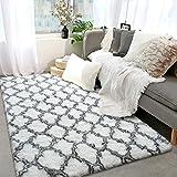 Vasofe Luxury Velvet Shag Area Rug Soft Modern Fluffy Fur Rugs,Premium Geometric Moroccan Floor Rugs for Bedroom Living Girls Room Kids Indoor Carpet 4' x 6' White