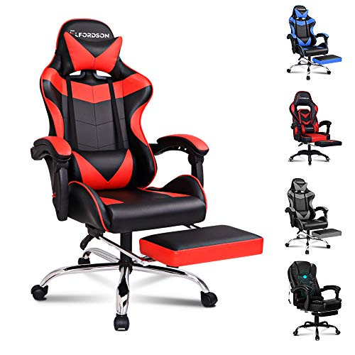 ELFORDSON Gaming Racing Chair Executive Sport Office Chair with Footrest PU Leather Armrest Headrest Red Colour